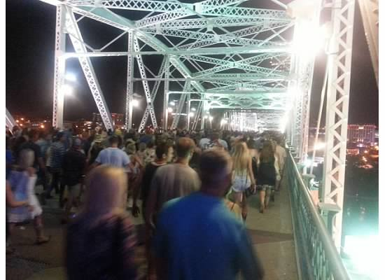 Crossing the John Seigenthaler Pedestrian Bridge in Nashville Tennessee