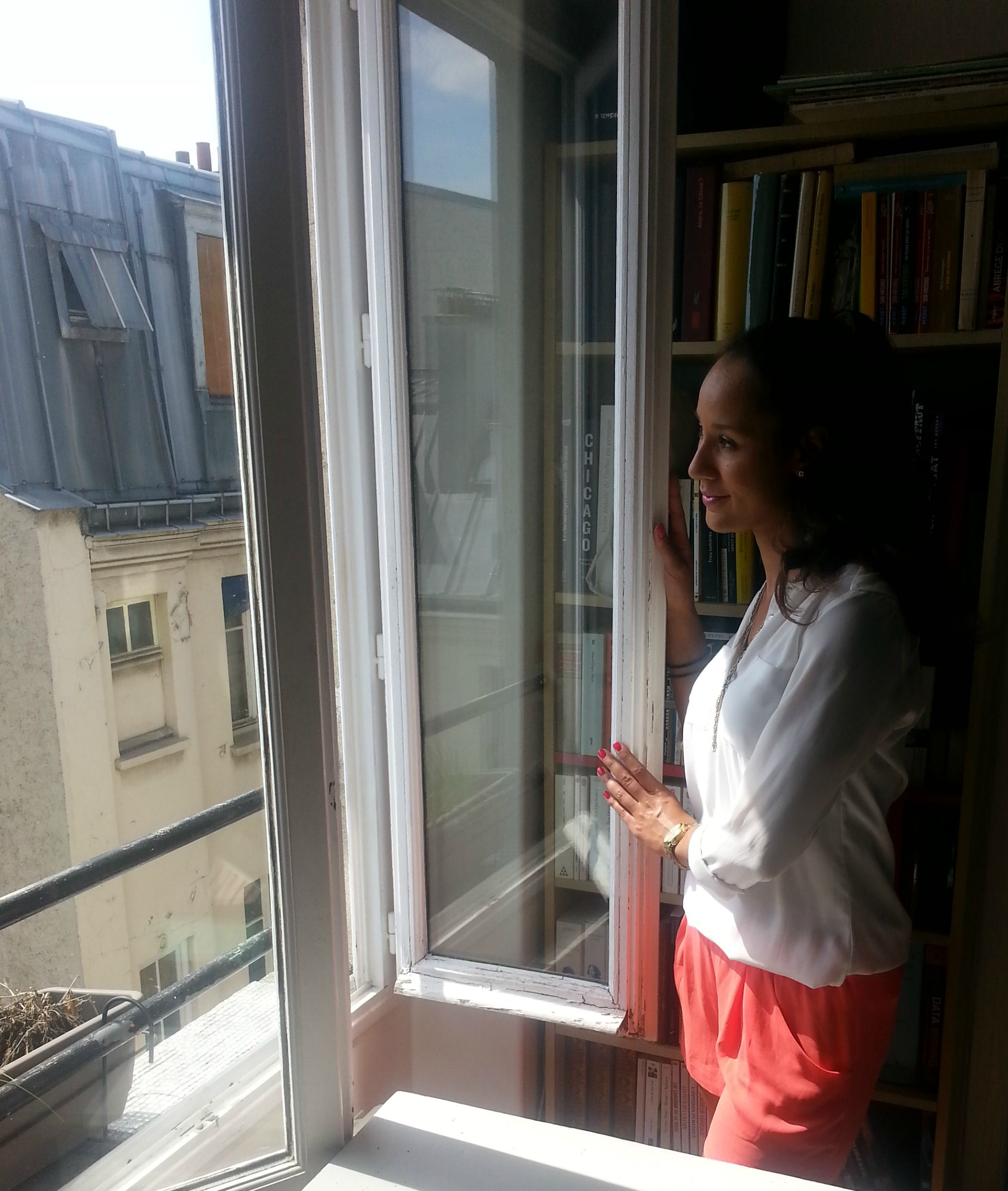 Looking out the apartment window in Paris France