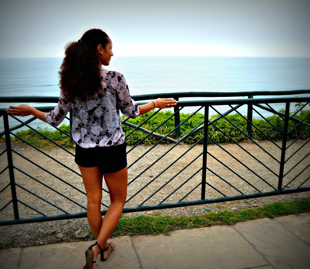 Looking out over the Pacific Ocean on the boardwalk in Lima, Peru