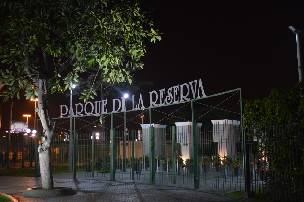 Parque de la Reserva at night