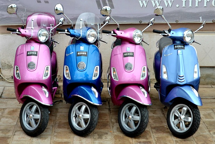 Mopeds in a row in Cannes, France