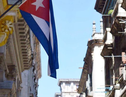 The Cuban flag flying in Havana, Cuba