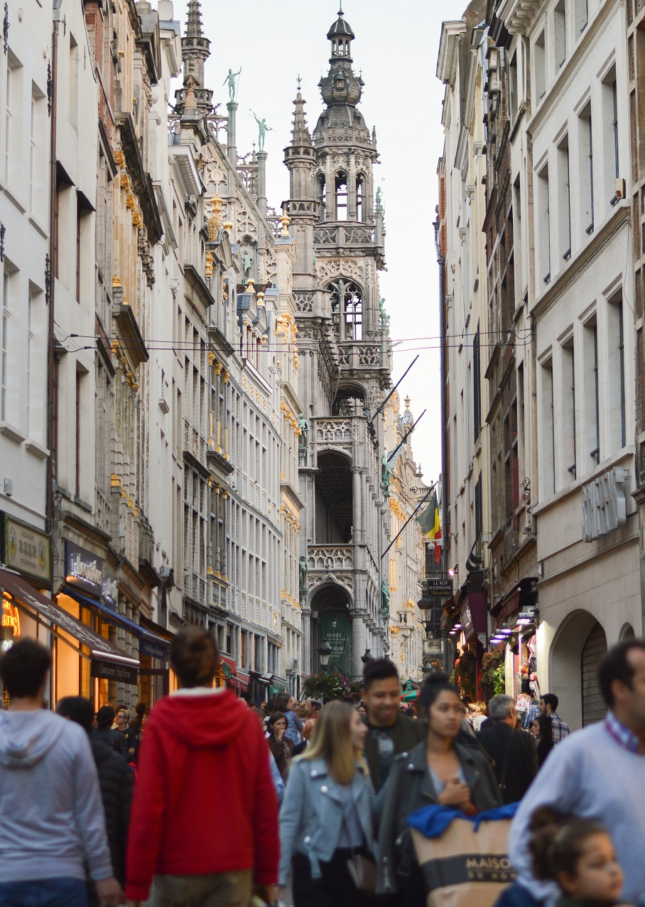 Approaching the Grand Place in Brussels, Belgium