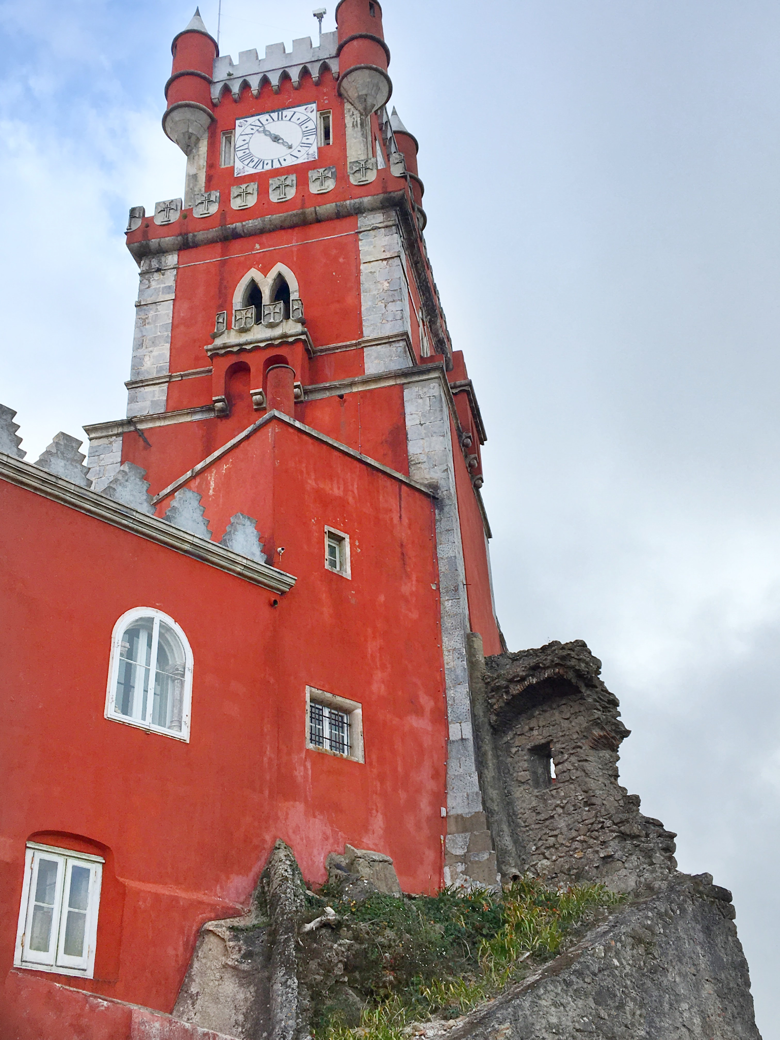 Colorful clocktower at the Pena Palace in SIntra, Portugal
