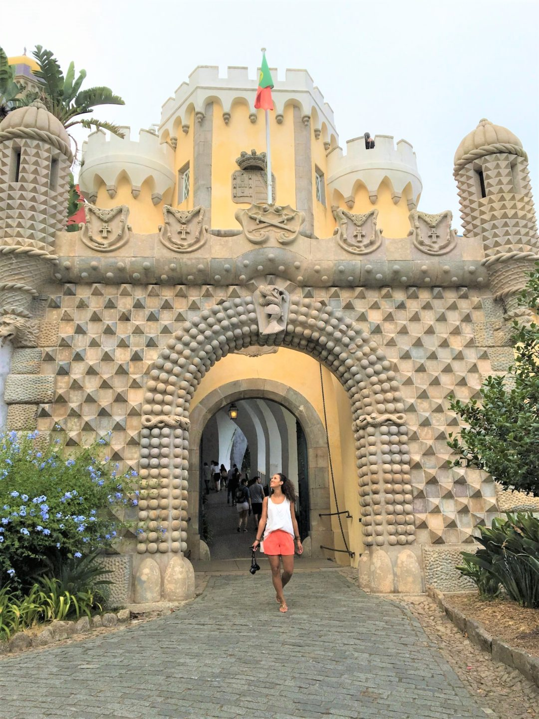 Grand entrance of the Pena Palace in Sintra, Portugal