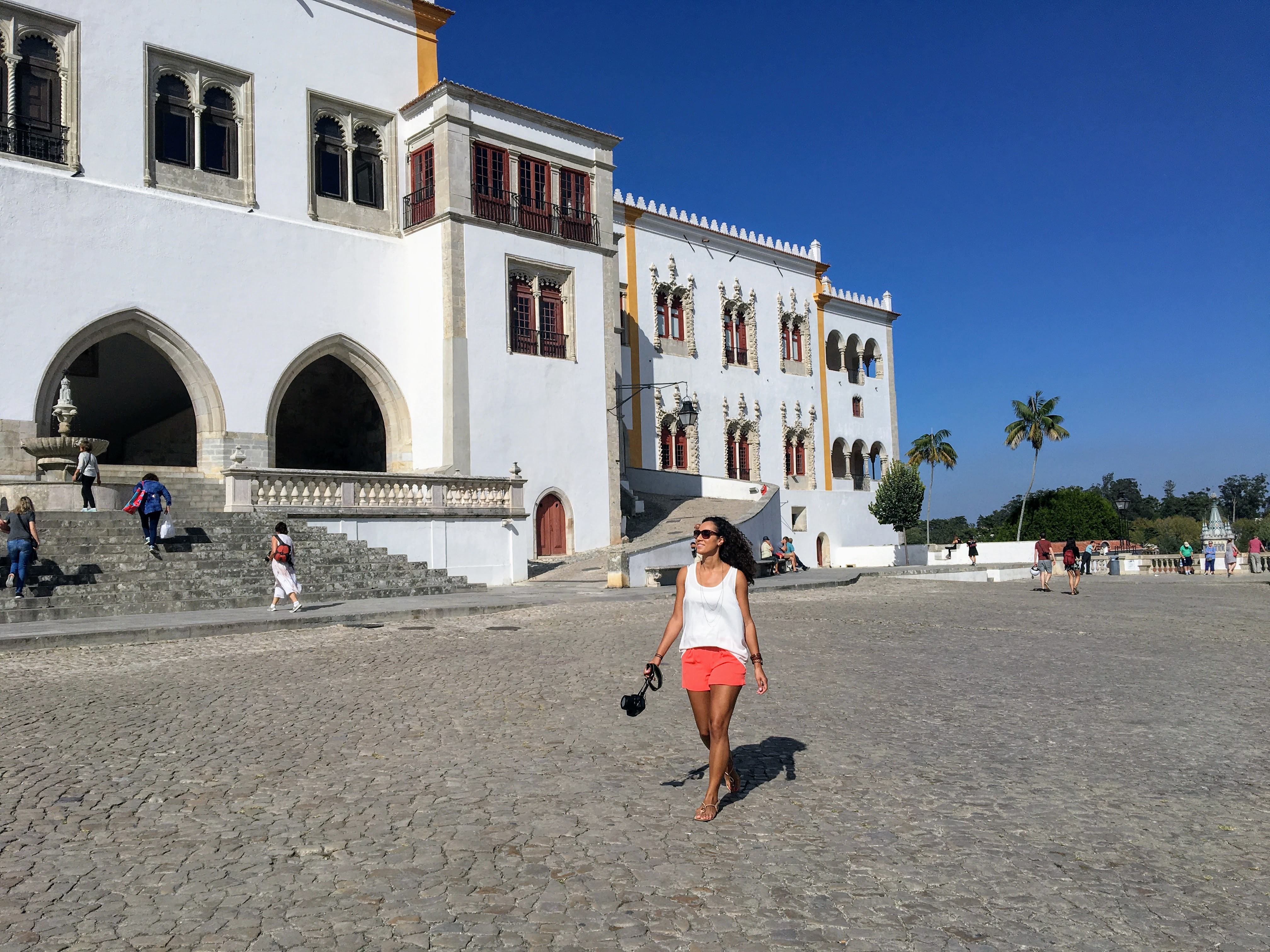 Outside the National Palace in Sintra, Portugal