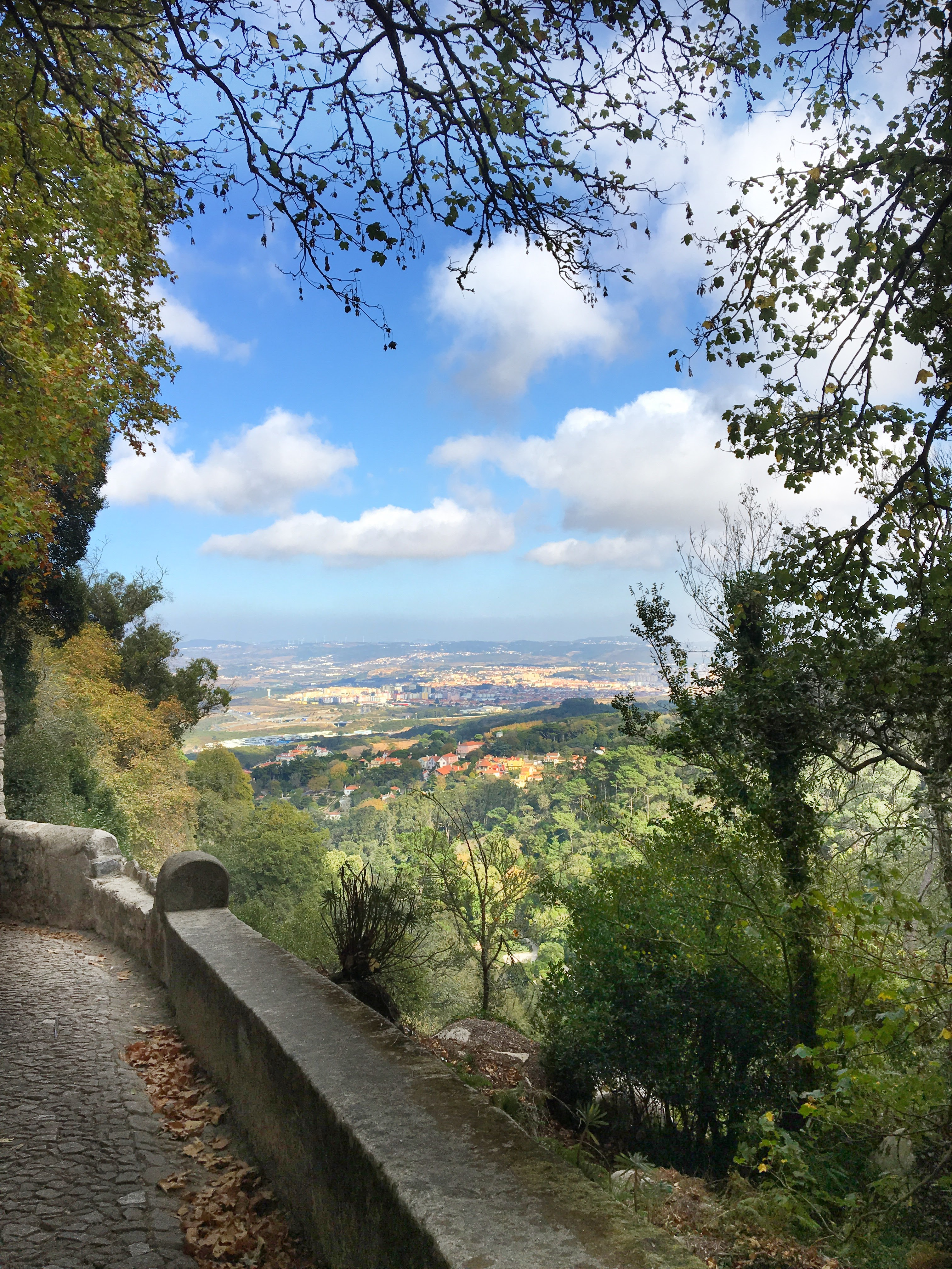 Panoramic view from the grounds of the Moorish Castle in Sintra, Portugal