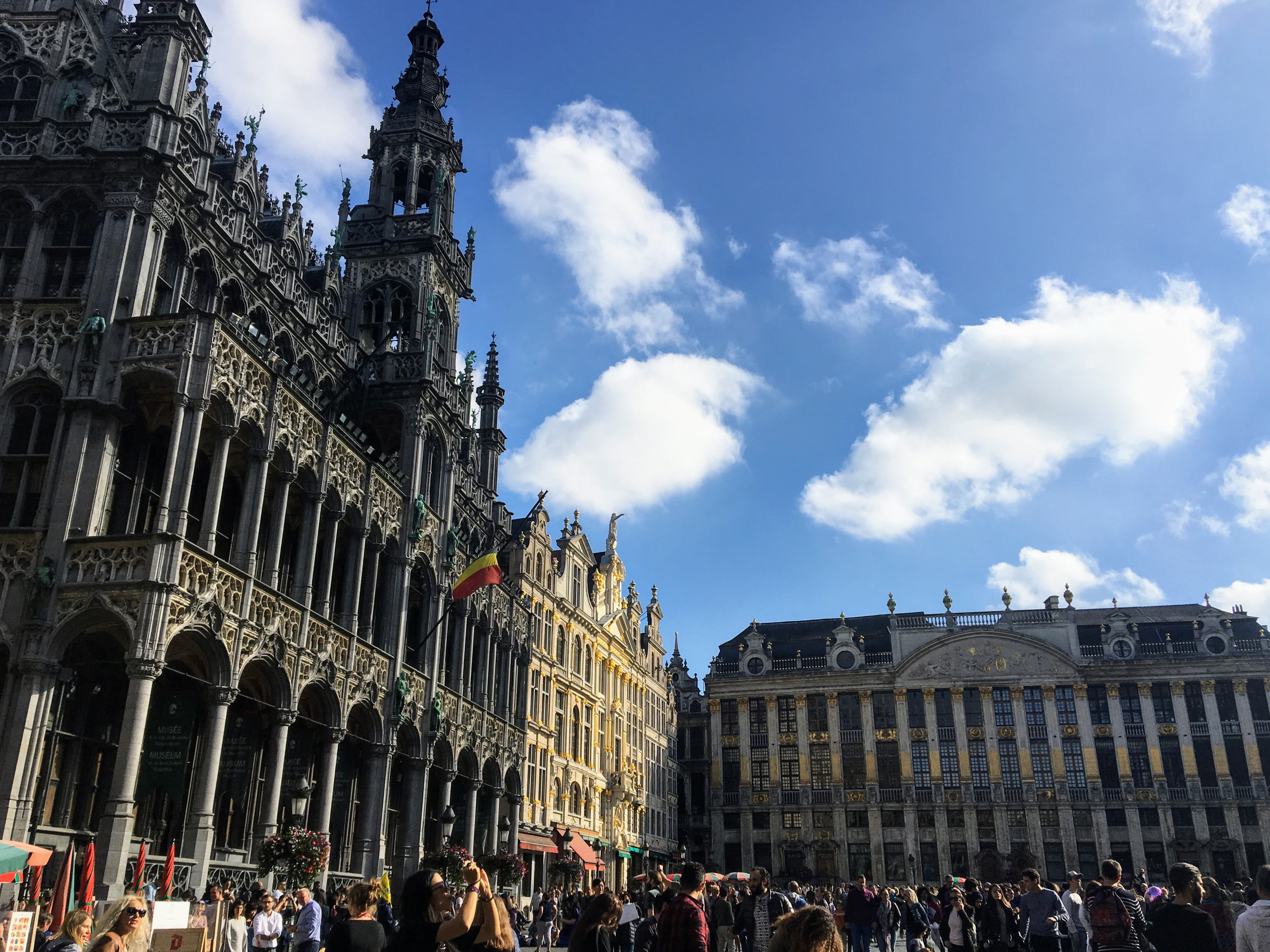 The Grand Place on a sunny day in Brussels, Belgium