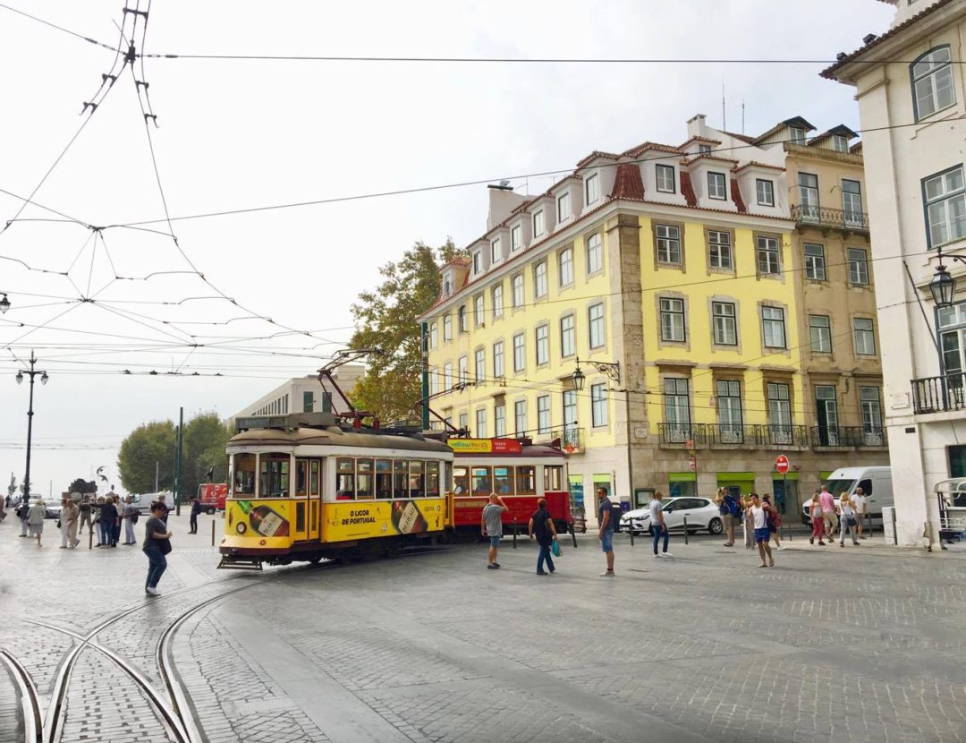 Traditional yellow tram in Lisbon, Portugal