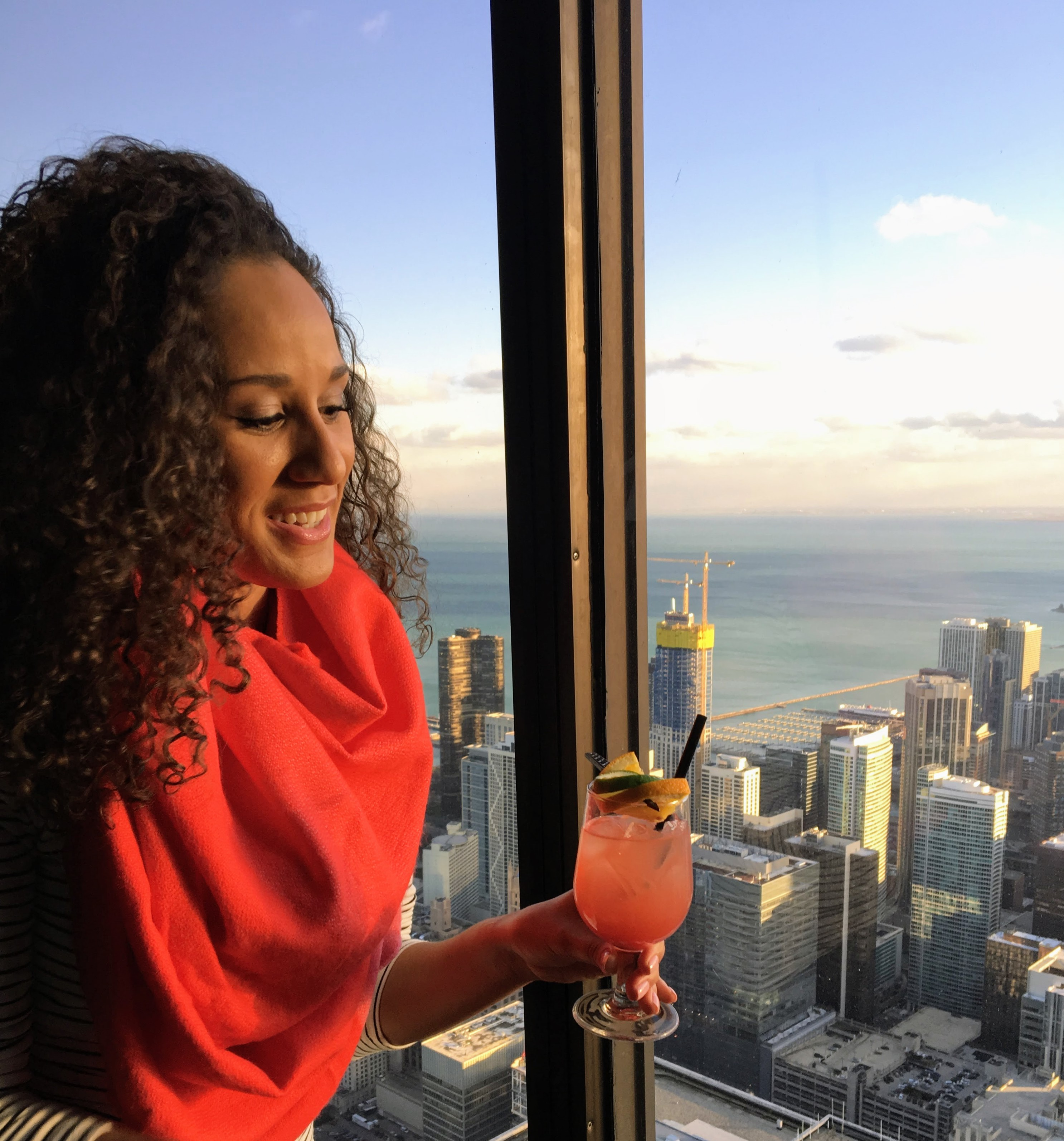 Enjoying a cocktail in the Signature Lounge in Chicago, Illinois