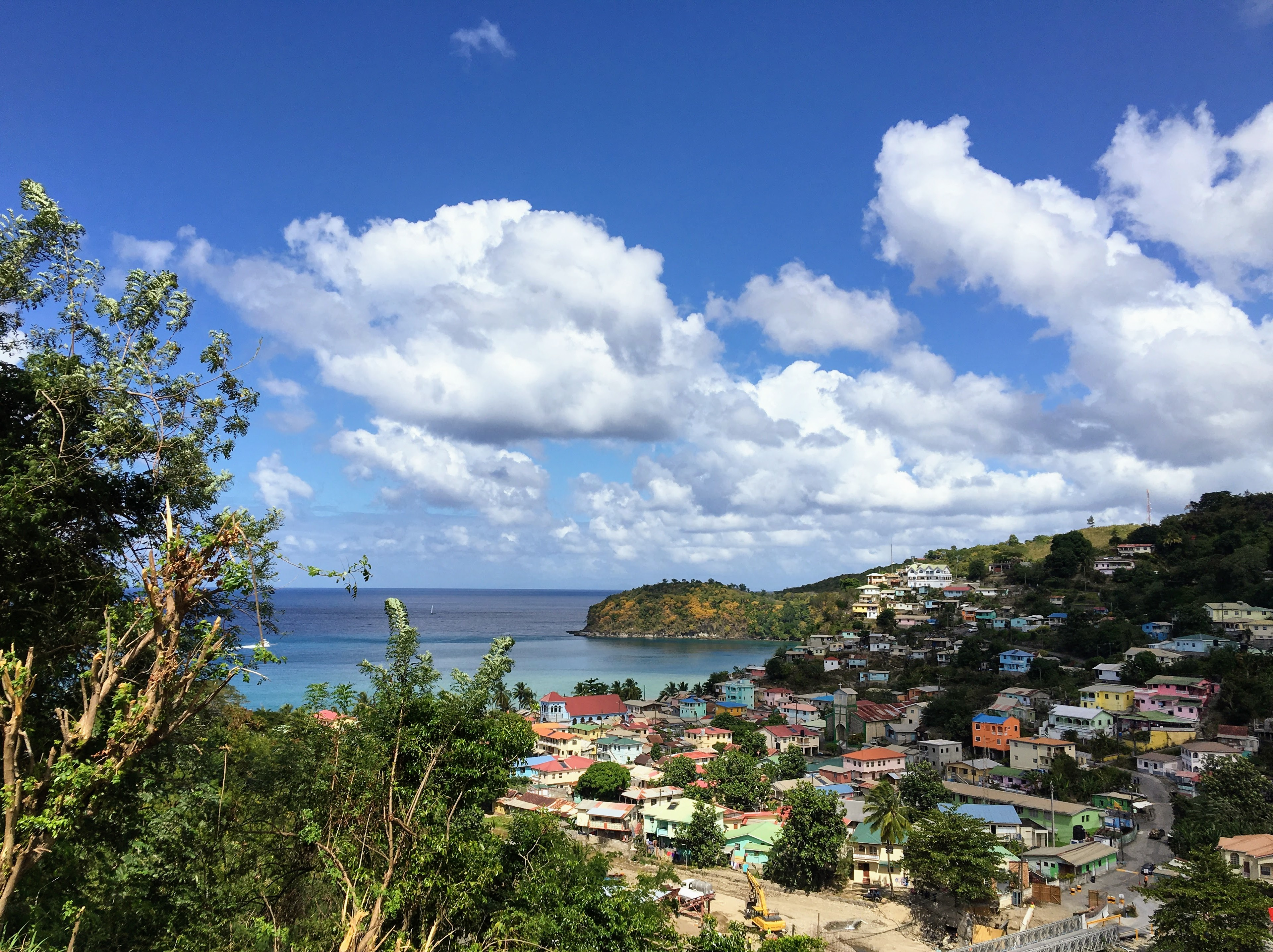 Small town on the island of Saint Lucia