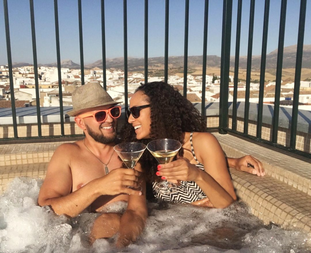 Rooftop pool at Hotel Catalonia in Ronda, Spain
