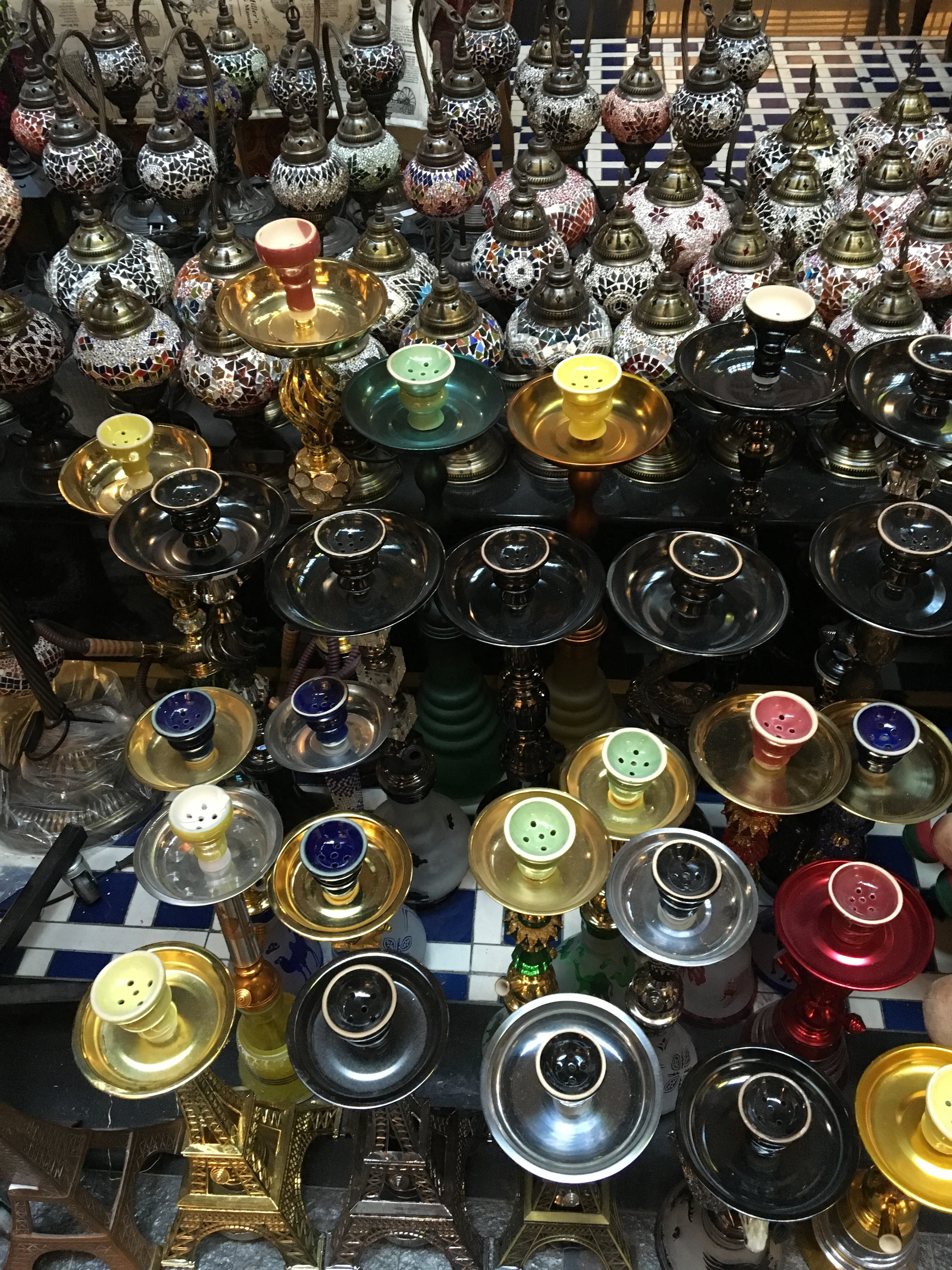 Colorful hookah pipes at the Souk Central Market in Abu Dhabi